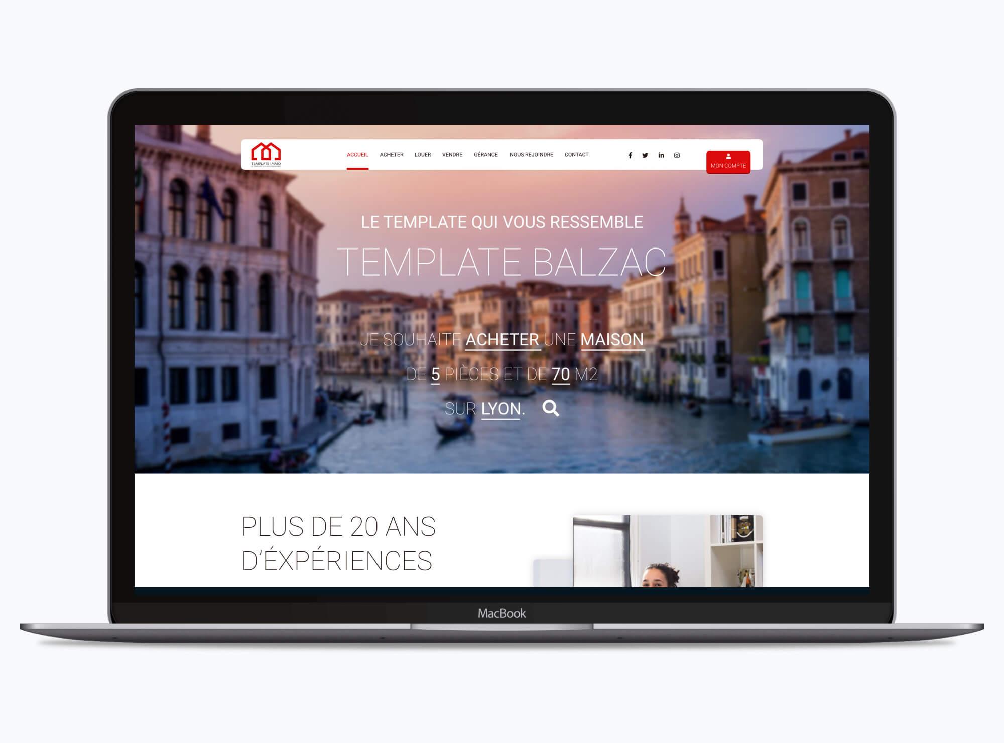 Site web : Thème Balzac immobilier