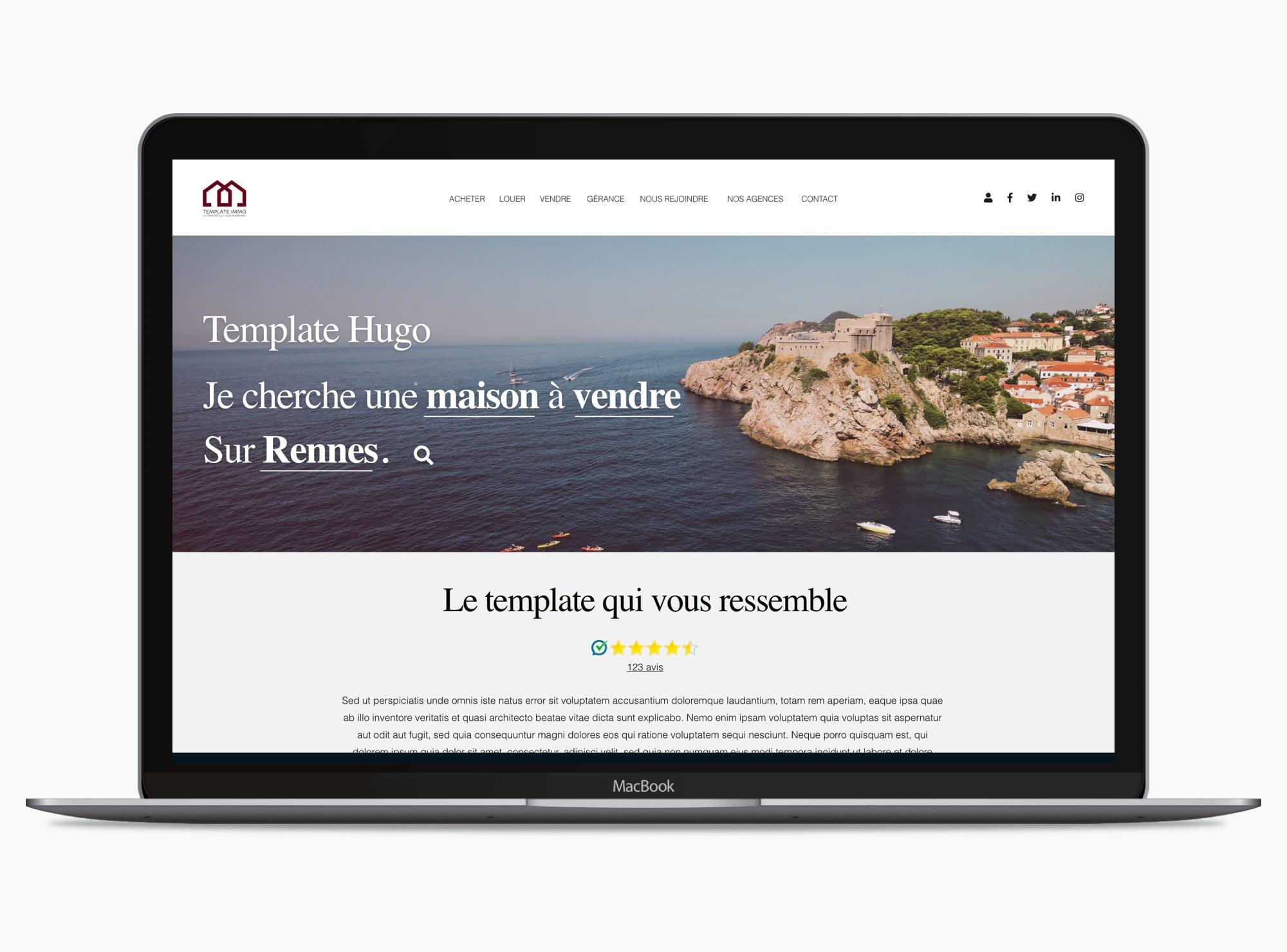 Site web : Thème Hugo immobilier