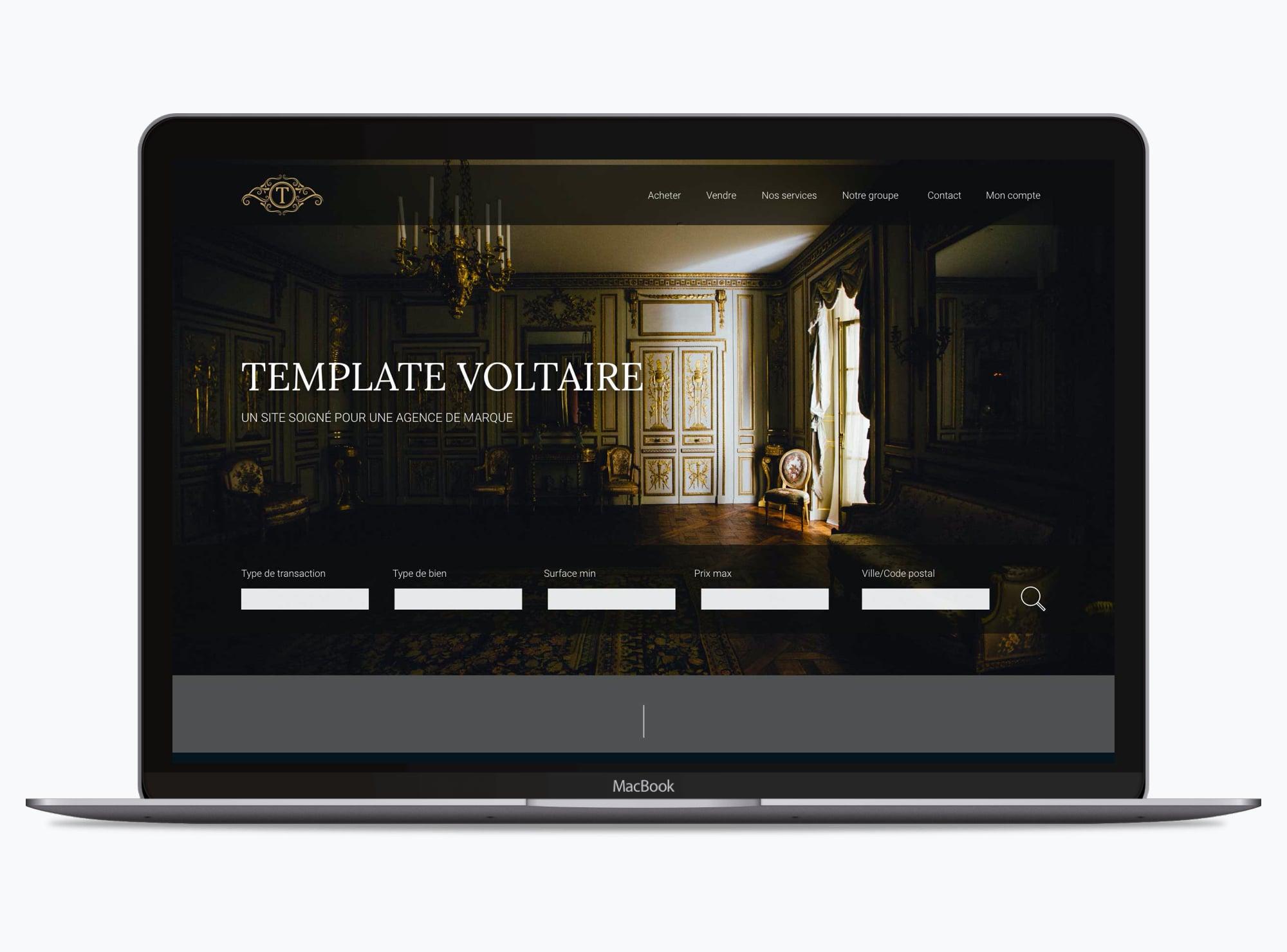 Site web : Thème Voltaire immobilier - Accueil